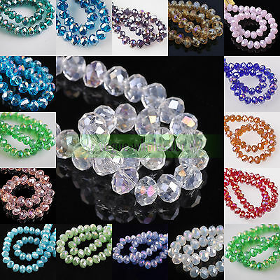 3mm/4mm/6mm/8mm/10mm AB Color Rondelle Faceted Crystal Glass Loose Spacer Beads
