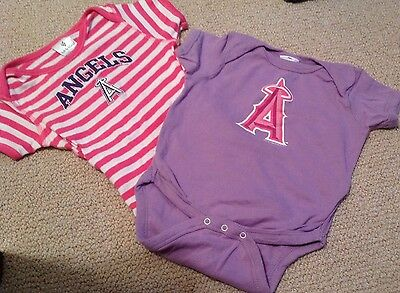2 LA  ANGELS MLB BASEBALL 18 Months Baby Toddler One Piece