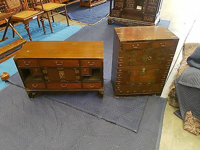 Antique Korean Chest (Left Side Of Photo)