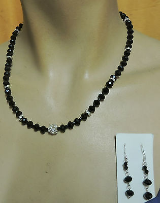 black jet Crystal with rhinestones silver clasp necklace with 925 earrings.