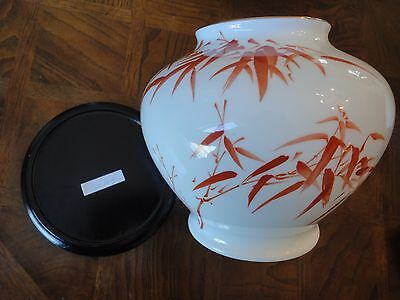 Franklin Porcelain Vase With Red Bamboo Limit Edition By Okura Of Japan, No Tax