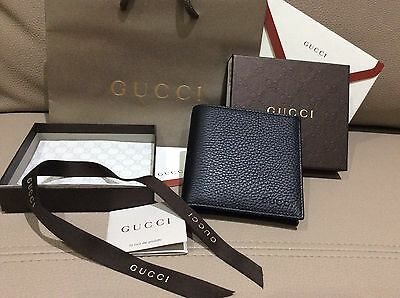 New $399 Gucci Authentic Men's Black Bifold Leather Wallet Authentic Coin