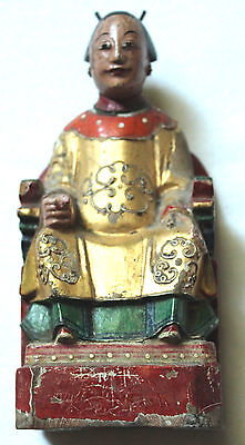 """Antique Chinese Carved Wooden Boxer Rebellion Dowager Empress Figure - 6"""" Tall"""