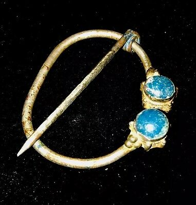 Ancient SILVER Viking Brooch w/Gorgeous Blue Stones