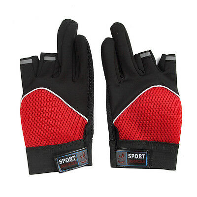 New 1Pair Non-Slip 3 Finger Cut Fishing Gloves Hand Protector Red Blue/Blac/Grey