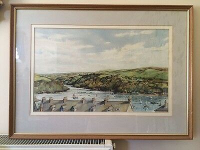 Signed Watercolour of Pont Pill, Fawey Cornwall by Harry Sheldon FRSA