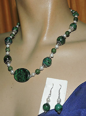 silver 925 chrysocolla & pearl  necklace earrings & FREE pOSTAGE