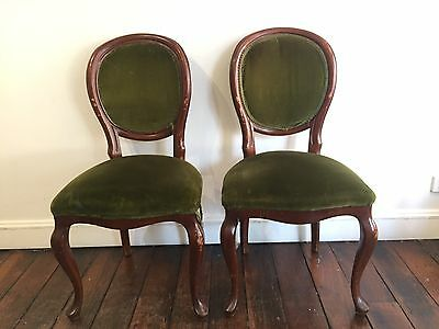 Pair Of Antique Wooden Umbrella Back Dining Chairs