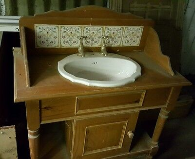 Antique pine wash stand vanity unit