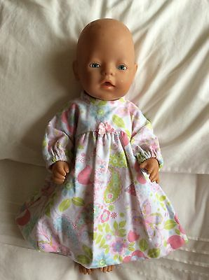 "DOLLS CLOTHES To FIT 17"" Baby Born DOLL~ Flannelette Nightie. Pink Flowers"