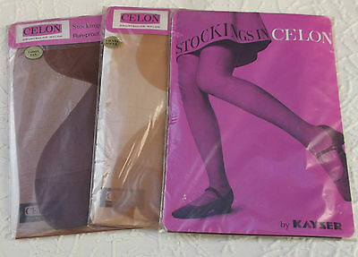 Vintage stockings size 10 1/2  Celon nylon Kayser 1960s choice of colour RHT