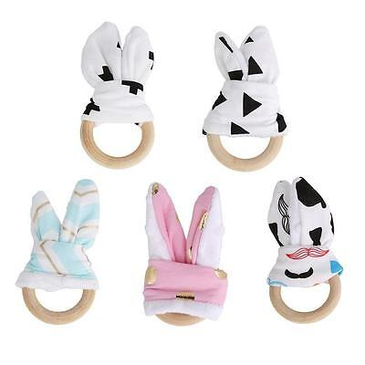 Handmade Wooden Natural Baby Teething Ring Chewie Teether Cute Bunny Ear Toy JJ