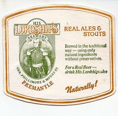 His Lordship's Brewery Australian Beer Coaster