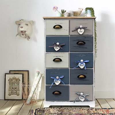 Mobili Rebecca® Cupboard Chest of Drawers 10 Drawers Blue Coloured Bedroom