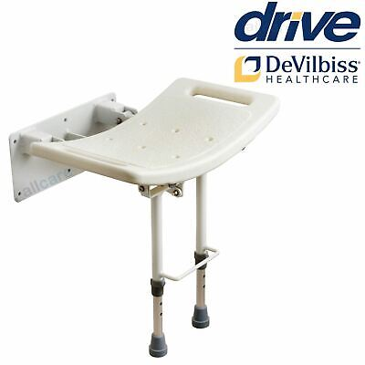 Folding Aluminium Wall Mounted Shower Seat Chair with legs Mobility Disability