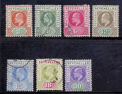 Seychelles. 7 LH mint and used. KE 7. 1903 and 1906