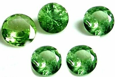 NATURAL CHARMING TSAVORITE GREEN GARNET LOOSE GEMSTONES (5 pcs.) ROUND SHAPE