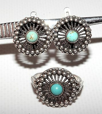 Beautiful Stunning Soviet Set of Earrings Ring Silver 925 USSR Antique AMAZING!