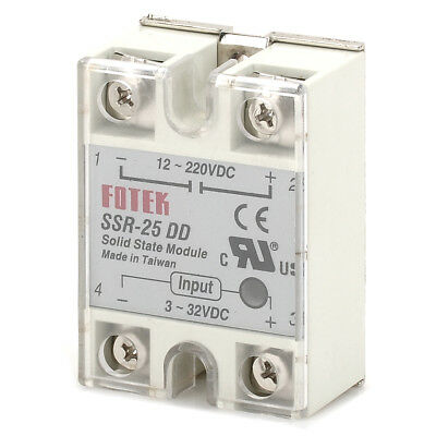 1Piece Plastic DC 12~220V 25A SSR-25DD Solid-state Relay White + silver
