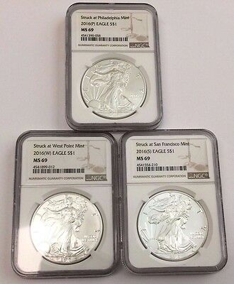 2016 (P) (W) (S) American Silver Eagle NGC MS-69 3 COIN SET ~ Low Mintage