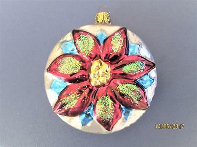 Pretty Silver With Red Flower Glass Christmas Ornament
