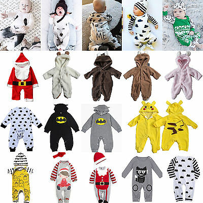 Newborn Baby Girls Boys Cotton Long Romper Bodysuit Jumpsuit Clothes Outfits Set