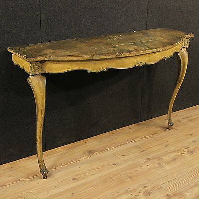 Antique console table furniture wood painted lacquered painted fake marble 800