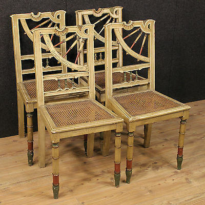 Group Seats Chairs Wood Lacquered Straw Vienna Spain Period '900 Chair Chaise