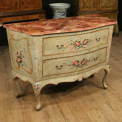 Dresser venetian lacquered painted chest drawers fake marble antique style 900