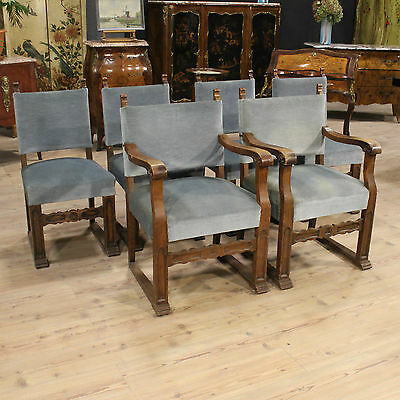 Set 4 Chairs 2 Armchairs Furniture Rustici Carved Oak Table Holland Period '900
