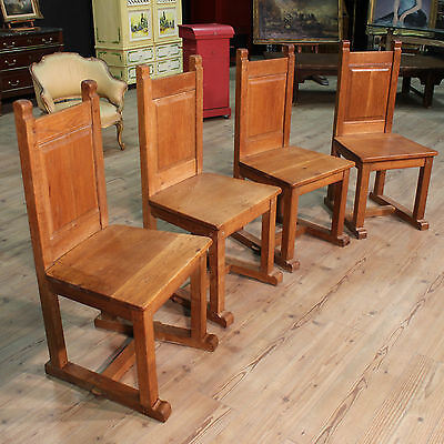 GROUP N. 4 CHAIRS CARVED RUSTIC WOOD OAK PERIOD '900 (H 104 cm) PARINO
