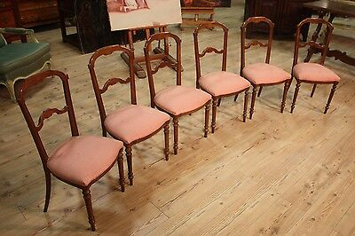 LOVELY GROUP 6 CHAIRS FRENCH CARVED MAHOGANY PERIOD END '800 (H 88 cm)