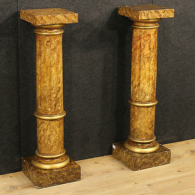 Couple Columns Coffee Tables Wood Paint Lacquered Imitation Marble Golden Italy