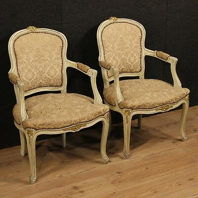 Pair of armchairs lacquered furniture chairs design vintage antique style 900 XX