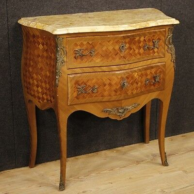 Dresser Wood Antique Style Louis Xv Furniture Bedside Table 2 Drawers Marble 900
