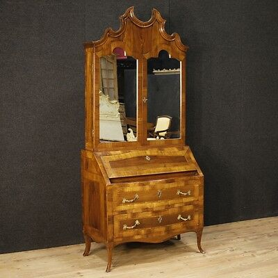 Trumeau Venetian Furniture Secretary Desk Fore Bookcase Double Body