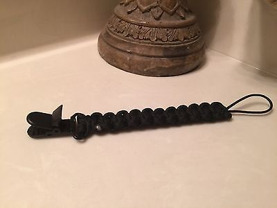Baby Boy Black Tactical Dummy Pacifier Soother Nipple Leash Strap Clip Holder