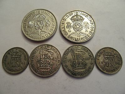 Lot of 6 Great Britain Silver Coins, mixed denominations, dated btwn 1940 & 1944