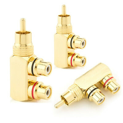 3x Premium Cinch Kupplung Audio Adapter Y Stecker Chinch Kabel RCA vergoldet