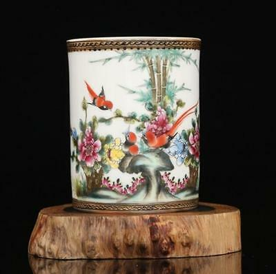 chinese old Pink glaze porcelain sculpture Birds and flowers brush pot
