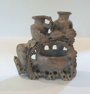 ANTIQUE CHINESE CARVED SOAPSTONE VASE, THREE URNS with FLOWERS & FOLIAGE