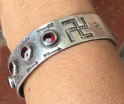 Whirling Log Cuff Bracelet w Garnets Early Harvey Era  hand Stamped Sterling