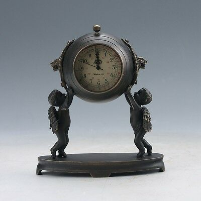 Collectible Old Chinese Brass Handwork A Piar Angel Clock Mechanical Table Q