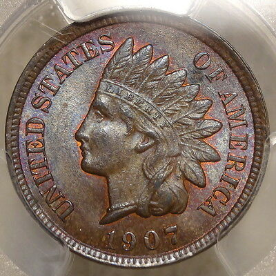 1907 Indian Cent, Choice Uncirculated PCGS MS-63, GREAT COLOR & Luster!