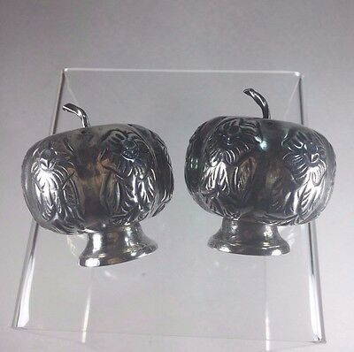 Vintage 1940s Chased Mexican Sterling Figural PUMPKIN Salt & Pepper Shakers