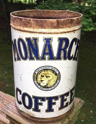 vintage MONARCH 1 LB. TIN METAL COFFEE CAN TRADEMARK LION ADVERTISING USA