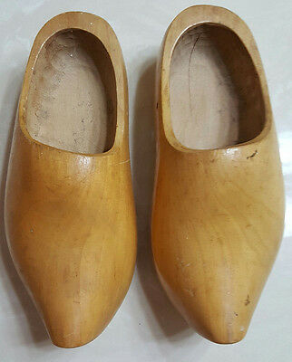 Solid Wood Wooden Holland Dutch Clogs Shoes Handmade Carved Wood Authentic