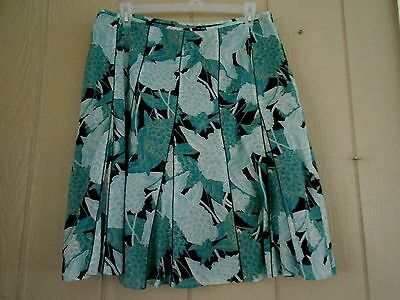 Ann Taylor Women's Skirt A-Line Pleated Floral Cotton Skirt Teal/Black Size 16