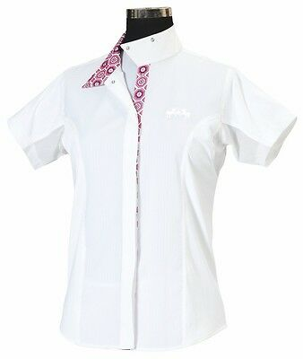Equine Couture Childs Kelsey Show Shirt, White/Pink, 8