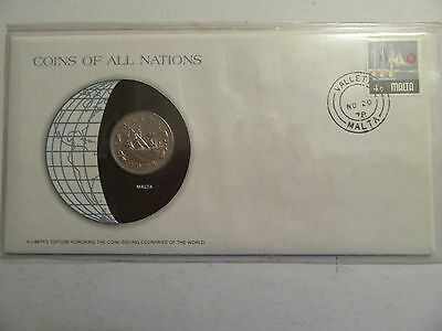 1972 Malta 10 Cent, Franklin Mint Coins of all Nations Series, w/ stamp